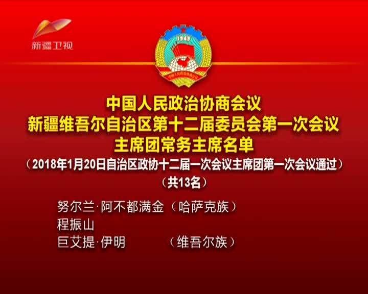 中国人民政治协商会议新疆维吾尔自治区第十二届委员会第一次会议主席团常务主席名单