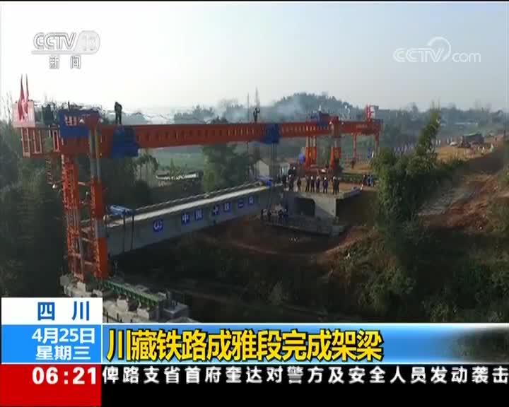 四川 川藏铁路成雅段完成架梁