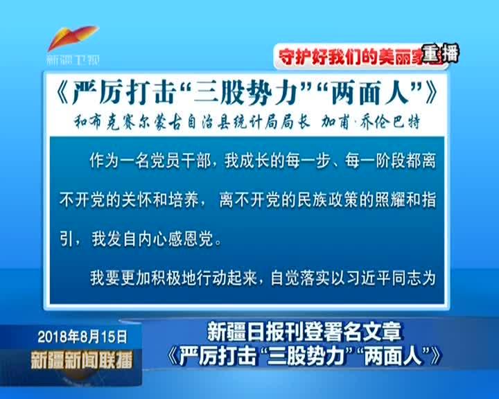 """新疆日报刊登署名文章《严厉打击""""三股势力""""""""两面人""""》"""