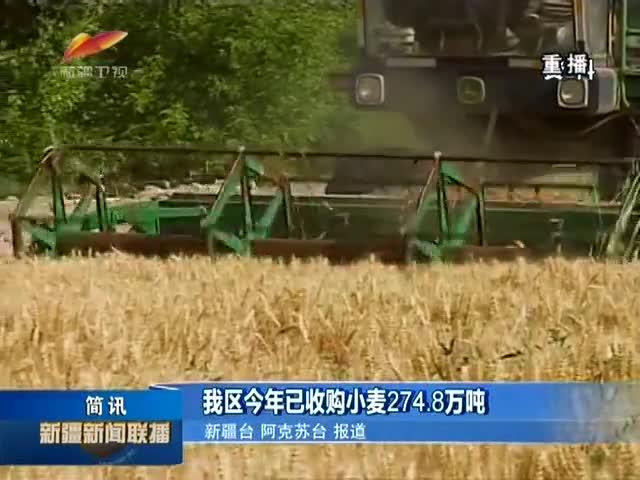 我区今年已收购小麦274.8万吨