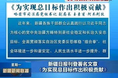 新疆日报刊登署名文章《为实现总目标作出积极贡献》