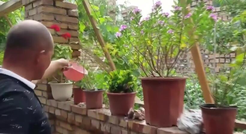 结业学员的生活,浇花,收拾庭院