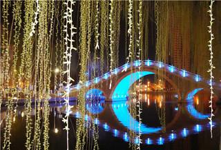 库尔勒市天鹅河夜色美