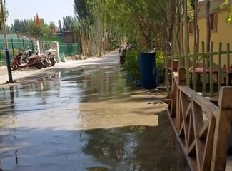 看看喀什天热时乡村美丽的街道