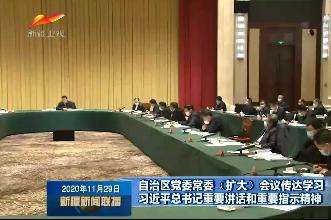 自治区党委常委(扩大)会议传达学习习近平总书记重要讲话和重要指示精神